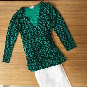 Boden Wrap Jersey Top Kelly Green & Navy Sz US 2